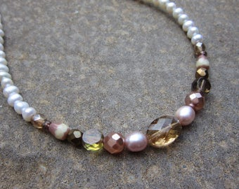 White freshwater pearl choker with hints of blush pink