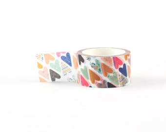 Wide Hearts diagonal pattern Washi Tape - scrapbooking, decorative masking tape, 5 meter, littleleftylou