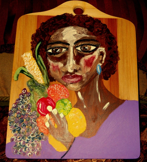 "Acrylic Painting on 13 x 10"" bamboo cutting board, Outsider Folk Art, African American Artist Stacey Torres - Kitchen Art"