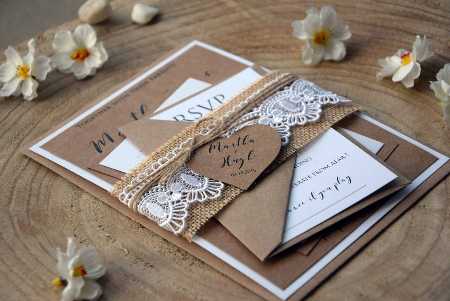 Printable Wedding Invitations Kits: Burlap And Lace Wedding Invitation Kit Personalized Wedding