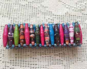Bright Multi-Coloured Bead Bracelet - Made from recycled paper by Women in the slums of Uganda