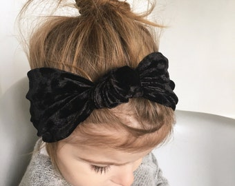 Black velvet feel knot headband /baby velvet head wrap / already knotted headband / toddler turban headband / jersey headband / baby turban