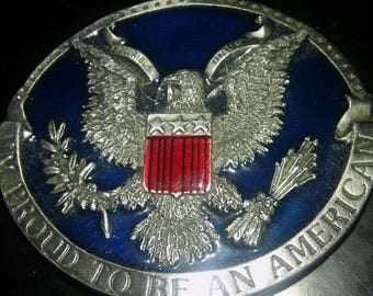Vintage I'm Proud To Be American Belt Buckle