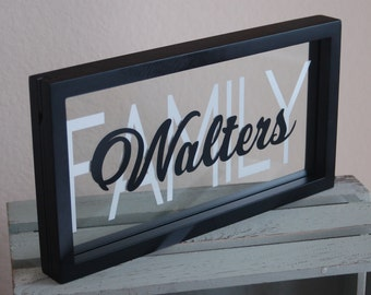 Personalized Family Name Sign with Floating Glass