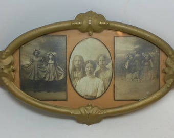 Vintage Tin Picture Frame - Vintage Family Photo - Vintage Children Picture - Vintage Photo - Plainview Texas