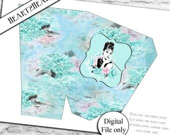 Digital Audrey Hepburn Breakfast at Tiffany's Popcorn Favor Box - Printable,DIY,Party,Download