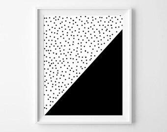 Geometric black and white art print, fun pop art print, home decor, kids room, Kitchen decor, instant download