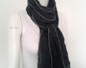 Scarf heated neck scarf turban scarf cotton woman wrinkled, gray scarf mid-season, gift idea, gift idea for her mother's.