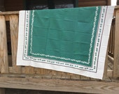 Vintage Green and White Ivy Tablecloth - Cutter - 52x48