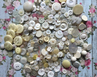 Oodles of Vintage White Buttons - All Shades of White