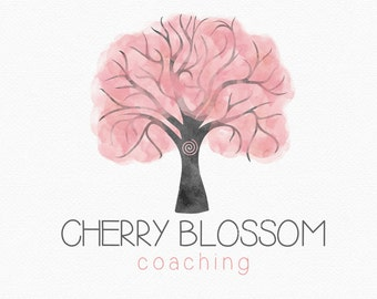 Cherry Blossom Logo Design , Cherry Blossom Tree , Spiral Tree , Pink Tree , Pink Leaves , Feminine Tree , Coaching Logo , Metaphysical Logo