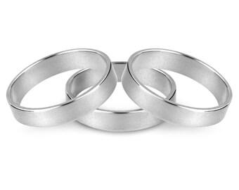 Eco Wedding ring, Silver Heavy Weight Flat Wedding Ring 5mm