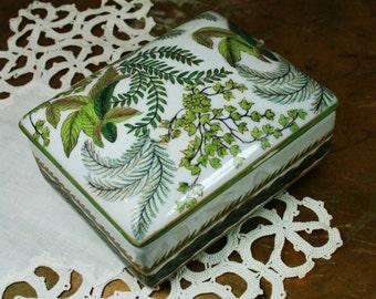 Hand Painted Green Leaf Ceramic Trinket Box