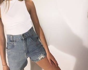 Metallic Sun Patched High Waisted Jean Shorts