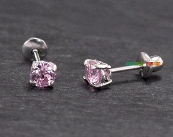 Silver Screw Earrings, Pink Cubic Zirconia Solid Sterling Silver Screw Back Earrings, Girls Ocbober Birthstone Screw Back Earrings Stud