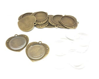 10 media Cabochon form heart Bronze and glass Cabochons 10