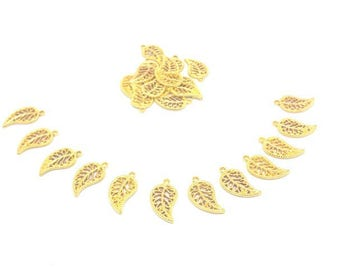 50 leaves gold charms gold 18x11mm