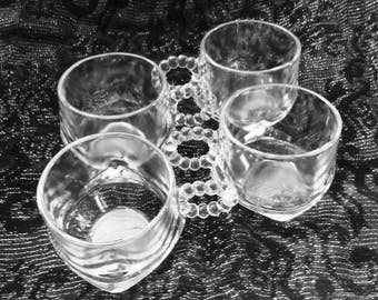 Set of 4 Crystal Clear Candlewick Punch Cups Also Perfect for Espresso by Imperial Glass