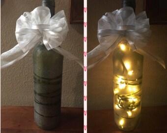 Lighted wine bottles Wine wedding gift Wine centerpieces Wine bottle light Wine theme Bridal shower centerpiece Wine wedding