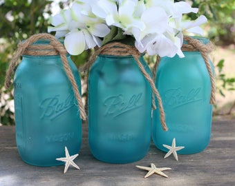 Sea glass mason jar centerpieces Beach themed centerpiece coastal decor Beach  bathroom decor Beach themed bridal shower Beach wedding decor