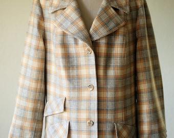 Vintage Pendleton Blazer Womens Large XL 16 18 / Plaid 70s Pendleton Vintage Jacket / Wool Blazer / Jacket Fitted / Lined Blazer Made in USA