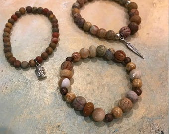 Bracelet Trio, Stacked Bracelets, Boho Bracelets, Jasper Bead Bracelets, Beaded Bracelets, Beaded Bracelets with Charms, Beaded Jewelry
