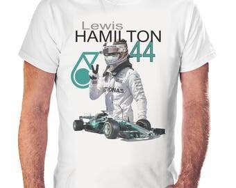 Lewis Hamilton Formula 1 F1 44 Motorsport Racing T Shirt White Small - XXL 2017