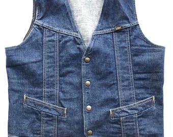 Vintage 1970s Lee Denim Vest Great Dark Indigo Blue Color Made in USA Size M