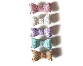 Pastel baby slides, Toddler glitter bows