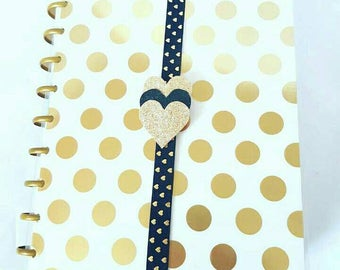 Black and Gold heart planner band, planner band, Glitter hearts,,planner book band, happy planner,A5 Planner Band