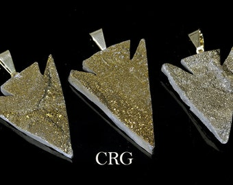 Gold Coated Chalcedony Druzy Arrowhead Pendant w/ Gold Plated Bail (DR15CN)