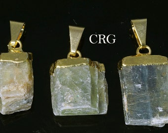 Gold Plated Rough Green Kyanite Pendant (PT23CN)