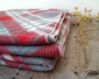Gray, Maroon, White and Teal Plaid Fleece Throw Blanket- Tartan