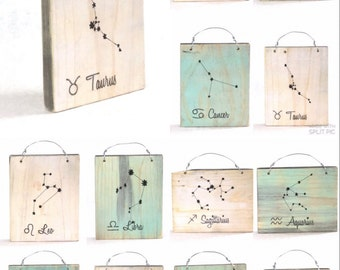 Taurus Constellation Zodiac Sign - Reclaimed Wood Signs