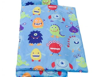 Monsters microfiber rest nap mat with pillow + blanket attached. Monogram. Customize. Personalize. Preschool or daycare item.