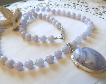 Jewelry Blue Lace Agate Sterling Silver Pendant on Blue Lace Agate Round Bead Necklace. Sky Blue color.