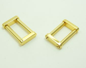 """2 PCS of high quality metal chrome/silver or gold 1 """" or 3/4""""  square/rectangular D-ring with screw-in bar for purse/bag/tote strap"""
