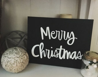 Merry Christmas Chalkboard Canvas Sign