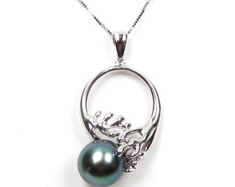 9.5mm Top Quality Authentic Tahitian Black Pearl Sterling Silver Pendant