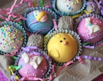 Easter Egg Carton- Gourmet Easter Cake Balls, Easter Basket Stuffer, Chick cake pop, Easter party favor, Easter Bunny, Easter Cake Pops