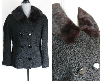 Vintage Persian Lamb Short Black Jacket Mink Collar Size Medium 50s Fur Coat Charles Brown Furriers