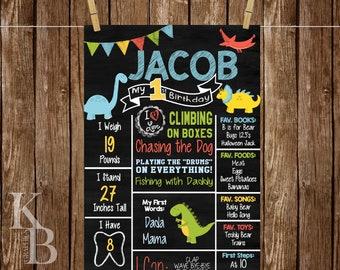 Dinosaur First Birthday Chalkboard Poster - First Birthday Board - Birthday Chalkboard Sign - Dinosaur Party - Birthday Board - DIGITAL FILE