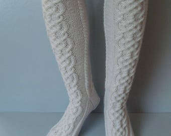 Hand knitted white socks