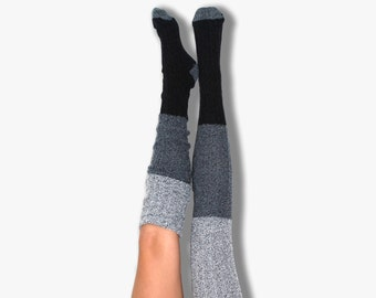 Black Color Block Marled Cable Knit Thigh High Socks  PM-088DDK