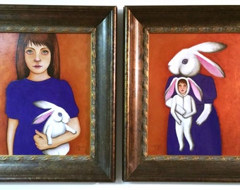 Original PAINTINGS Set of 2 Portraits Rabbit Art Alice in Wonderland Painting Oil on Board Painting  Prutski