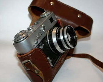 Vintage Soviet FED-3 camera USSR Leica copy with Industar-61 F2.8 52mm Tessar lens body & case