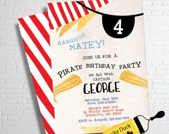 Pirate Party Invitation | Pirate Birthday Invitation | Pirate Party Invite| Pirate Invitation | Boys Birthday Invitation | DIGITAL FILE ONLY