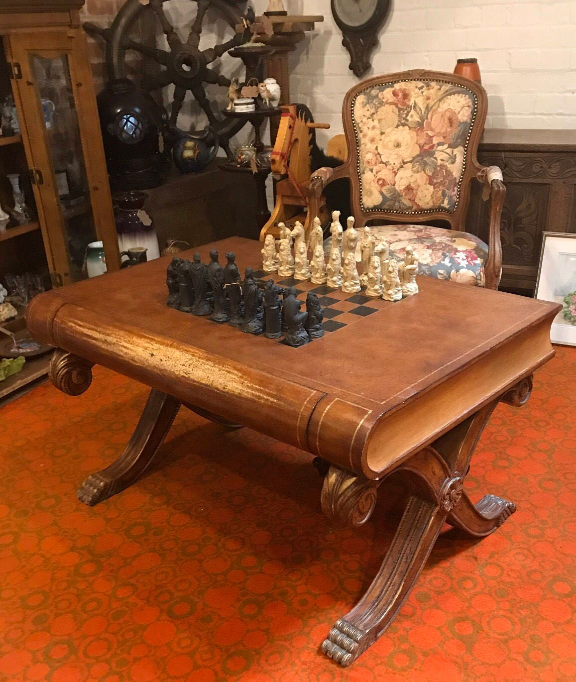 Stunning large chess coffee table in the shape of a book a details stunning large chess coffee table geotapseo Image collections