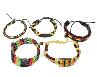 Rasta Stylish Assorted Leather Adjustable Bracelets (RASTA-BRACELET-SET-5PC)