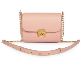 Leather Cross body Bag, Beige Leather Shoulder Bag, Women's Leather Crossbody Bag, Leather bag KF-499